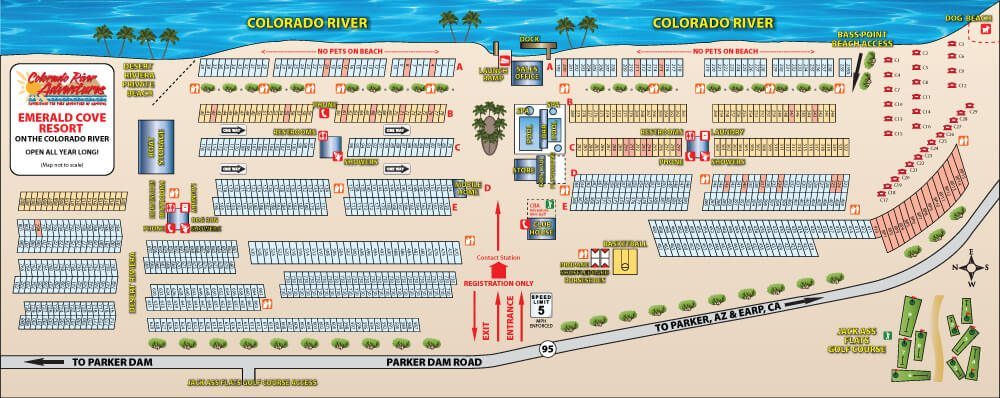 Map Of Arizona Rv Parks.Resort Park Map Family Rv Camping Emerald Cove Resort